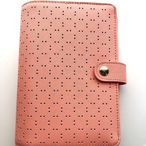 Kikki K Personal Peach Leather Ring Planner